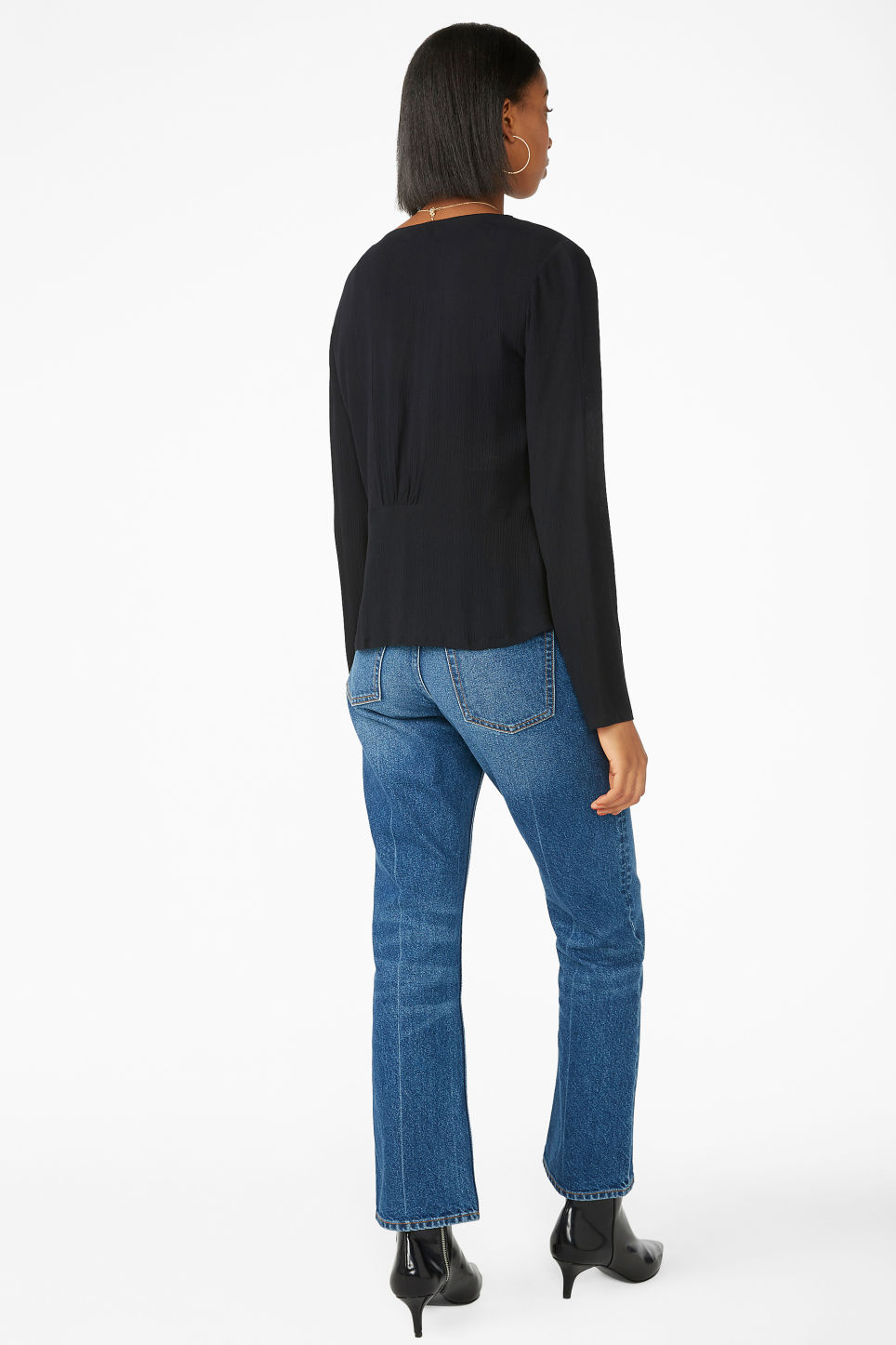 Model back image of Monki shirred blouse in black