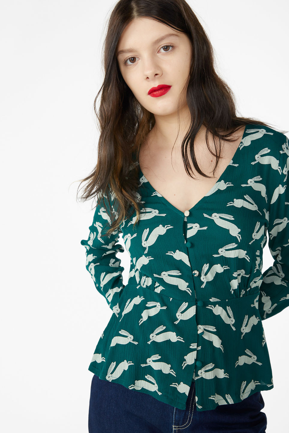 Model front image of Monki shirred blouse in green