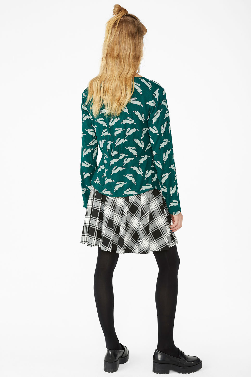 Model back image of Monki shirred blouse in green
