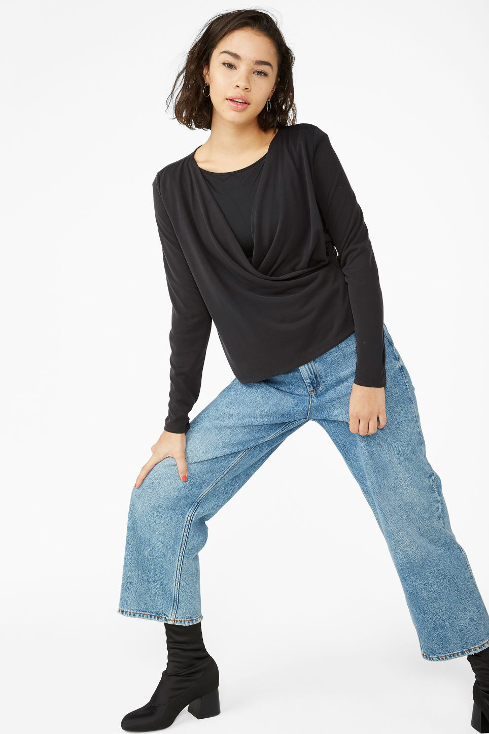 Model front image of Monki super-soft wrap top in black