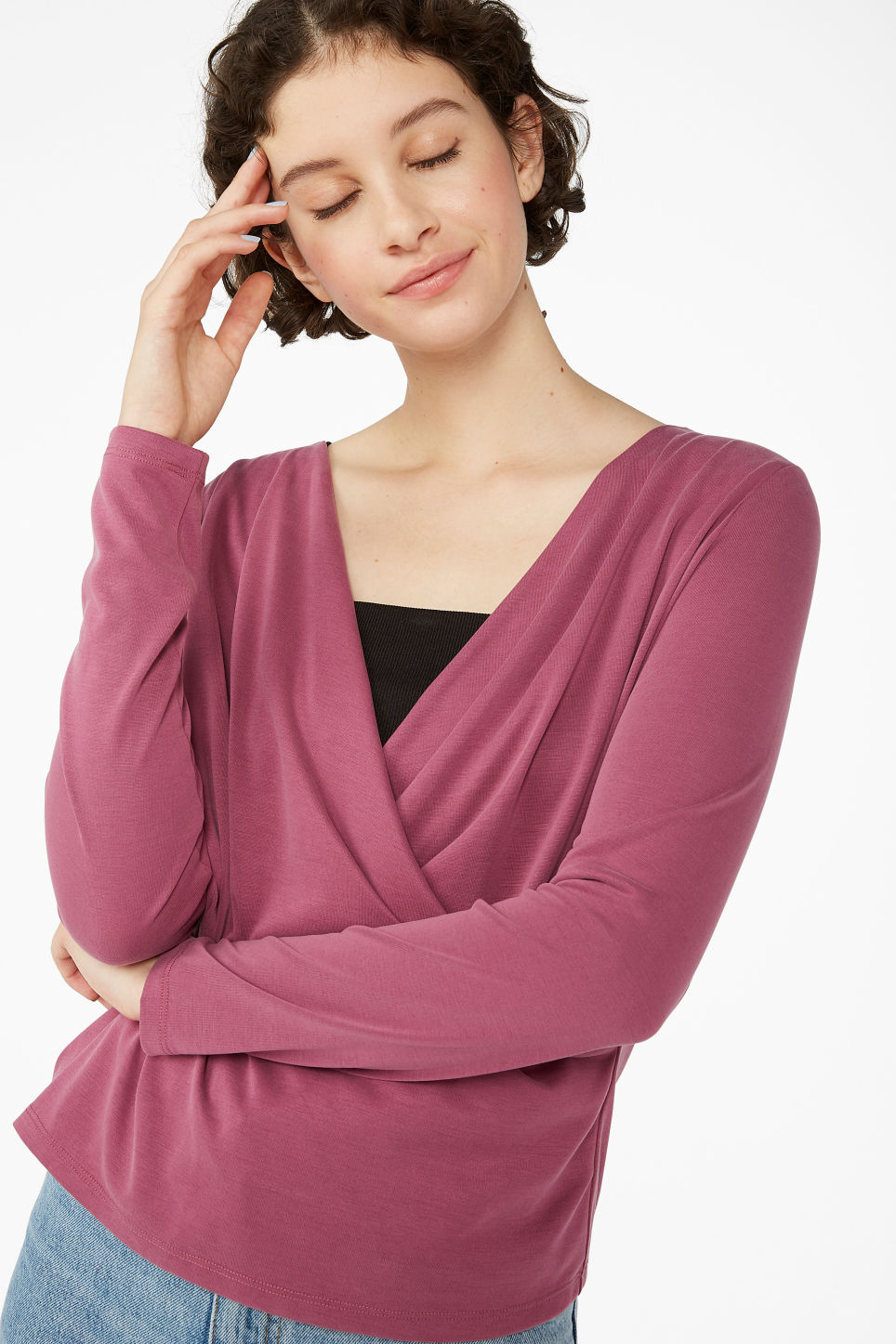Model front image of Monki super-soft wrap top in pink