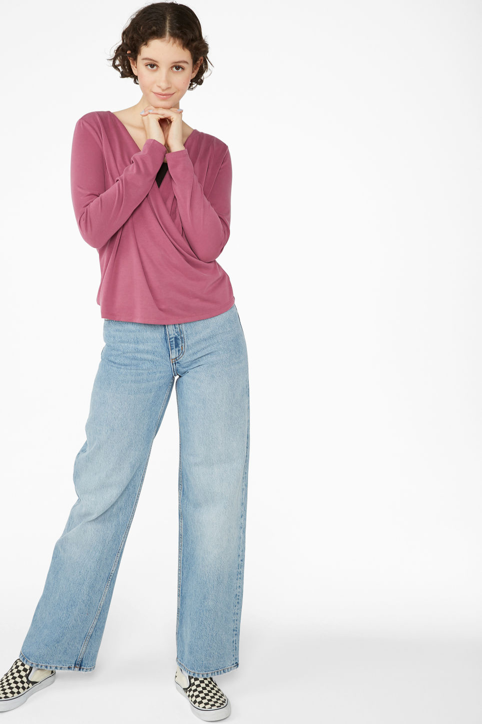 Model side image of Monki super-soft wrap top in pink
