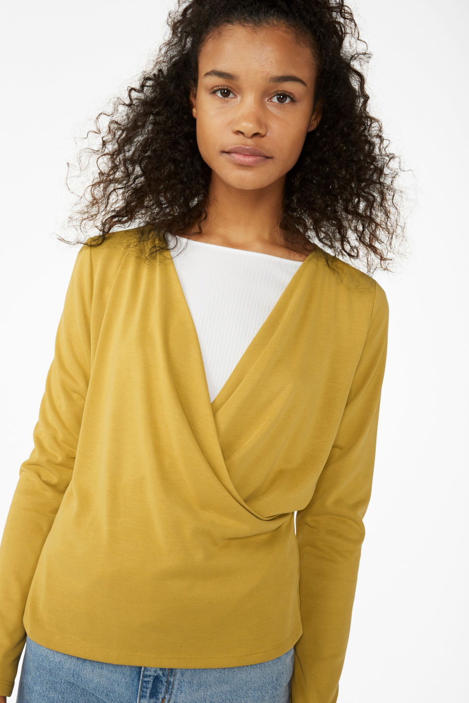 Model front image of Monki super-soft wrap top in yellow