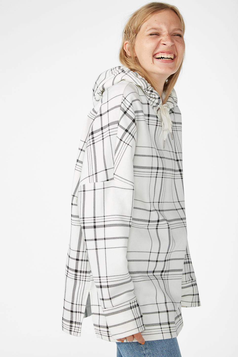 Model front image of Monki drop shoulder hoodie in white
