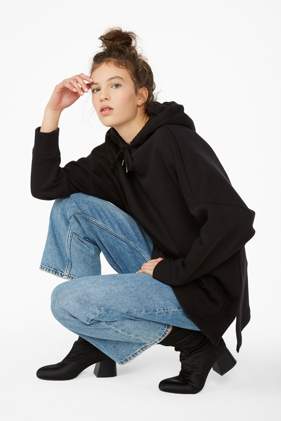 Model front image of Monki drop shoulder hoodie in black