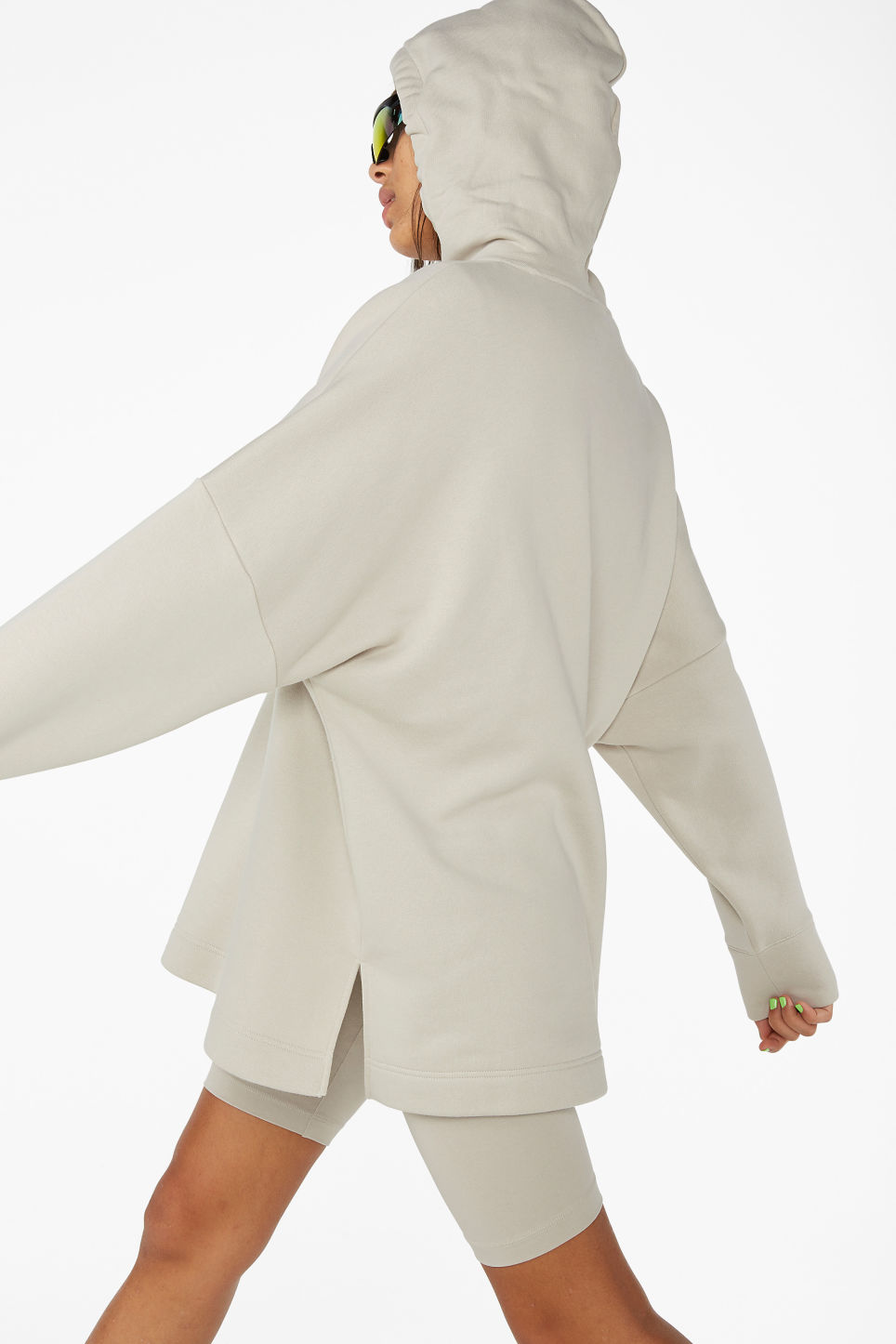 Model back image of Monki drop shoulder hoodie in beige