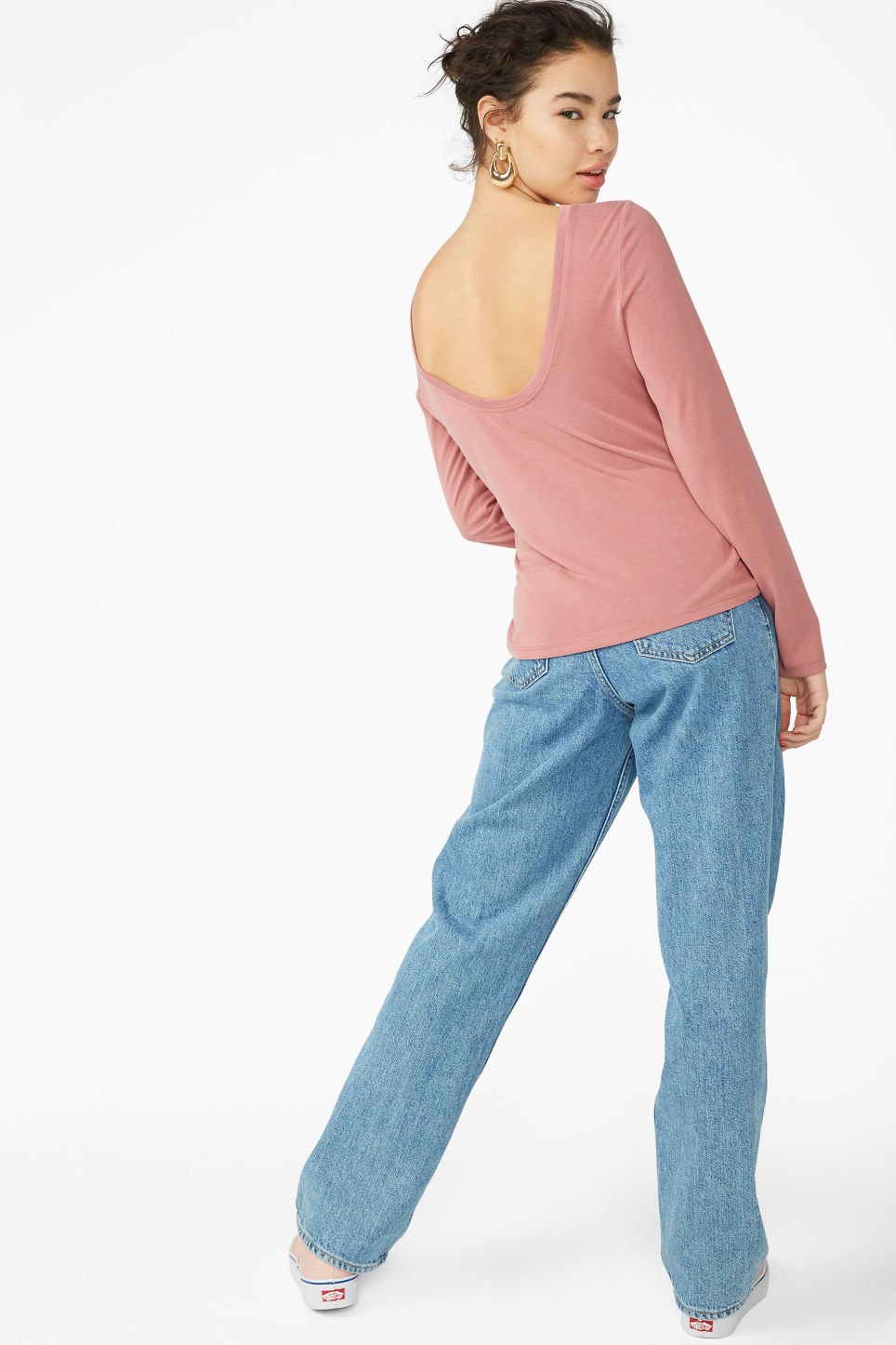 Model front image of Monki super-soft deep back top in red
