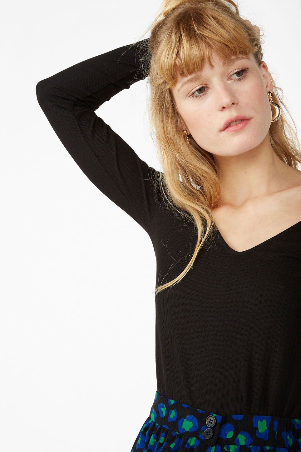Model front image of Monki v-neck top in black