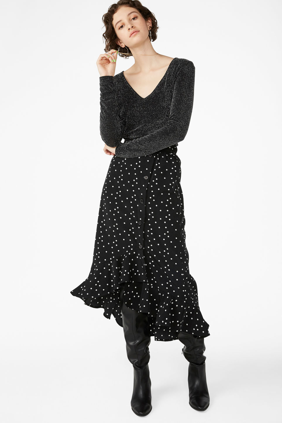 Model side image of Monki v-neck top in black