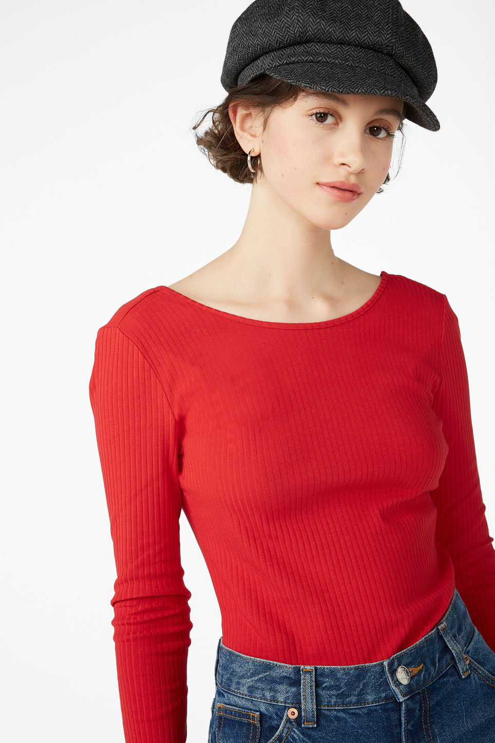 Model front image of Monki low-back top in red