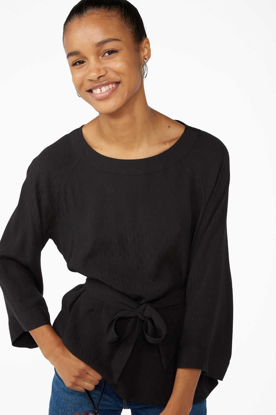 Model front image of Monki belted boat neck blouse in black