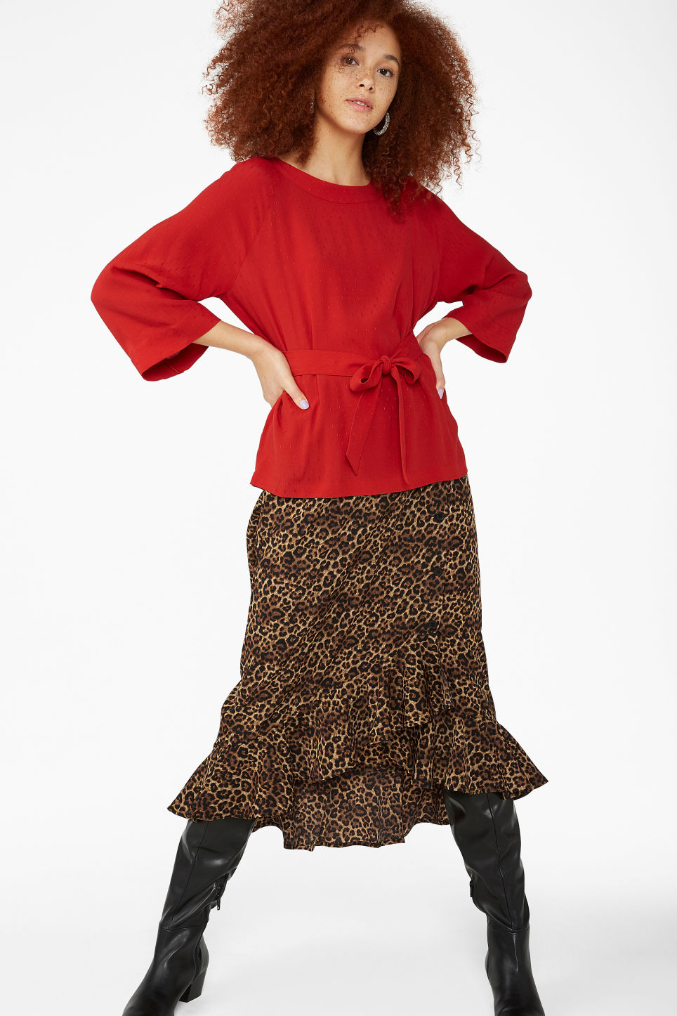 Model side image of Monki belted boat neck blouse in red