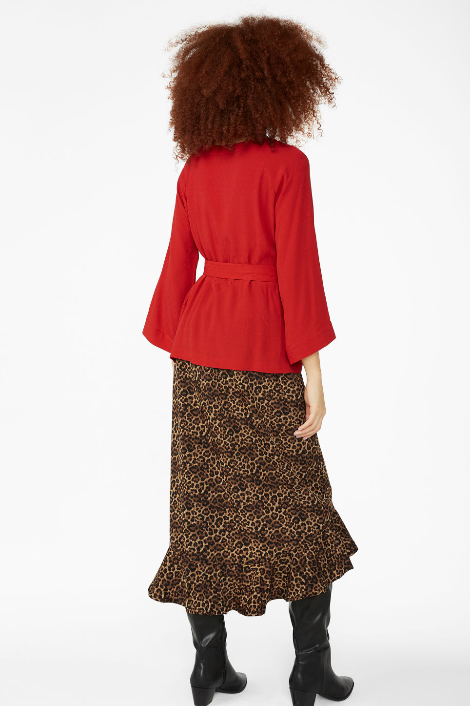 Model back image of Monki belted boat neck blouse in red