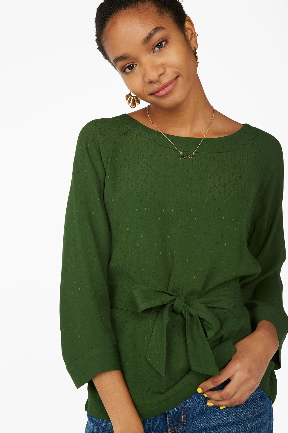 Model front image of Monki belted boat neck blouse in green