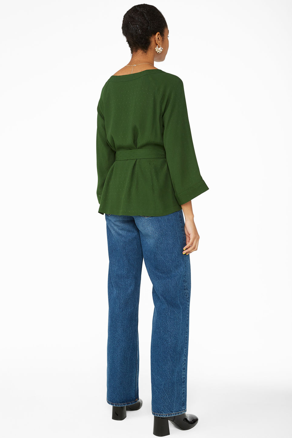 Model back image of Monki belted boat neck blouse in green