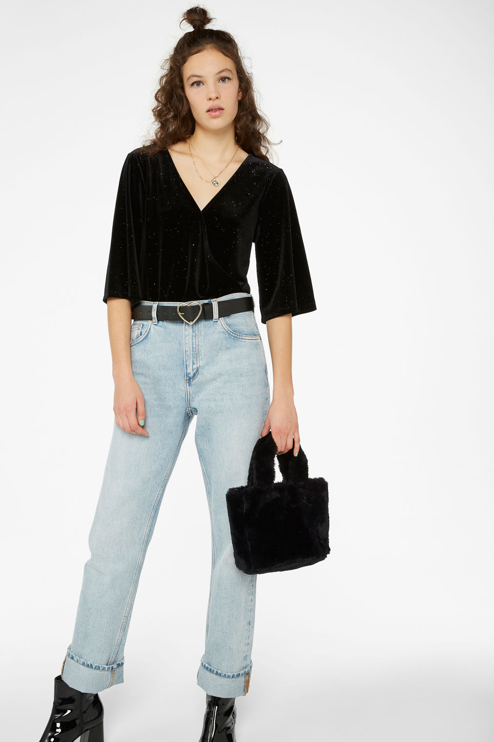 Model front image of Monki velvet wrap body in black