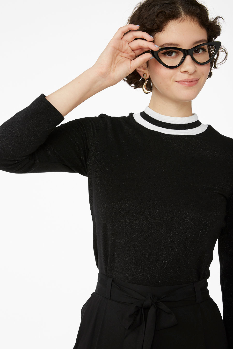 Model front image of Monki glittery top in black
