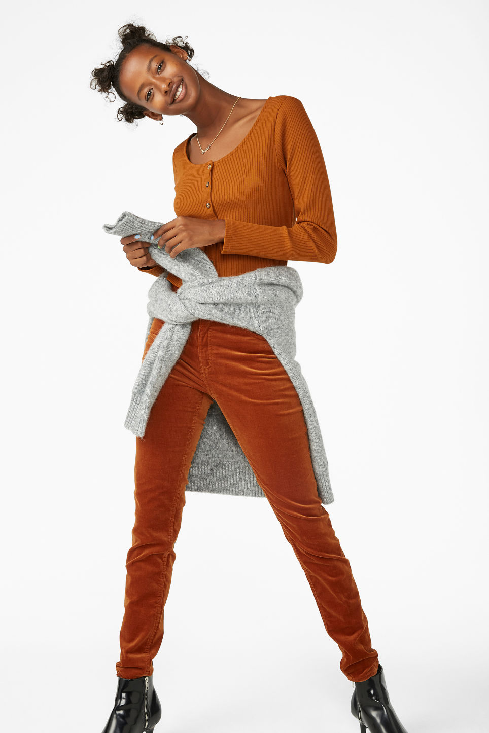 Model side image of Monki scoop neck top in orange