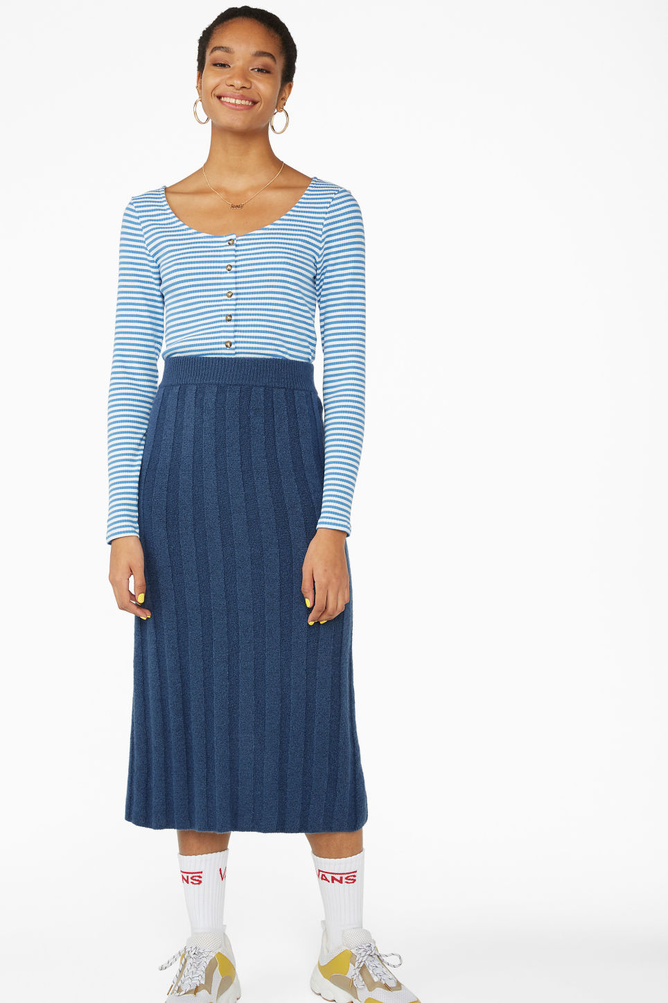 Model front image of Monki buttoned long-sleeved top in blue