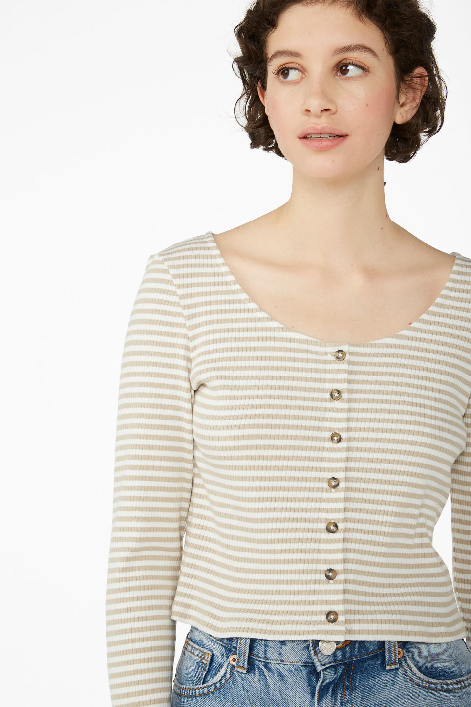 Model front image of Monki buttoned long-sleeved top in beige