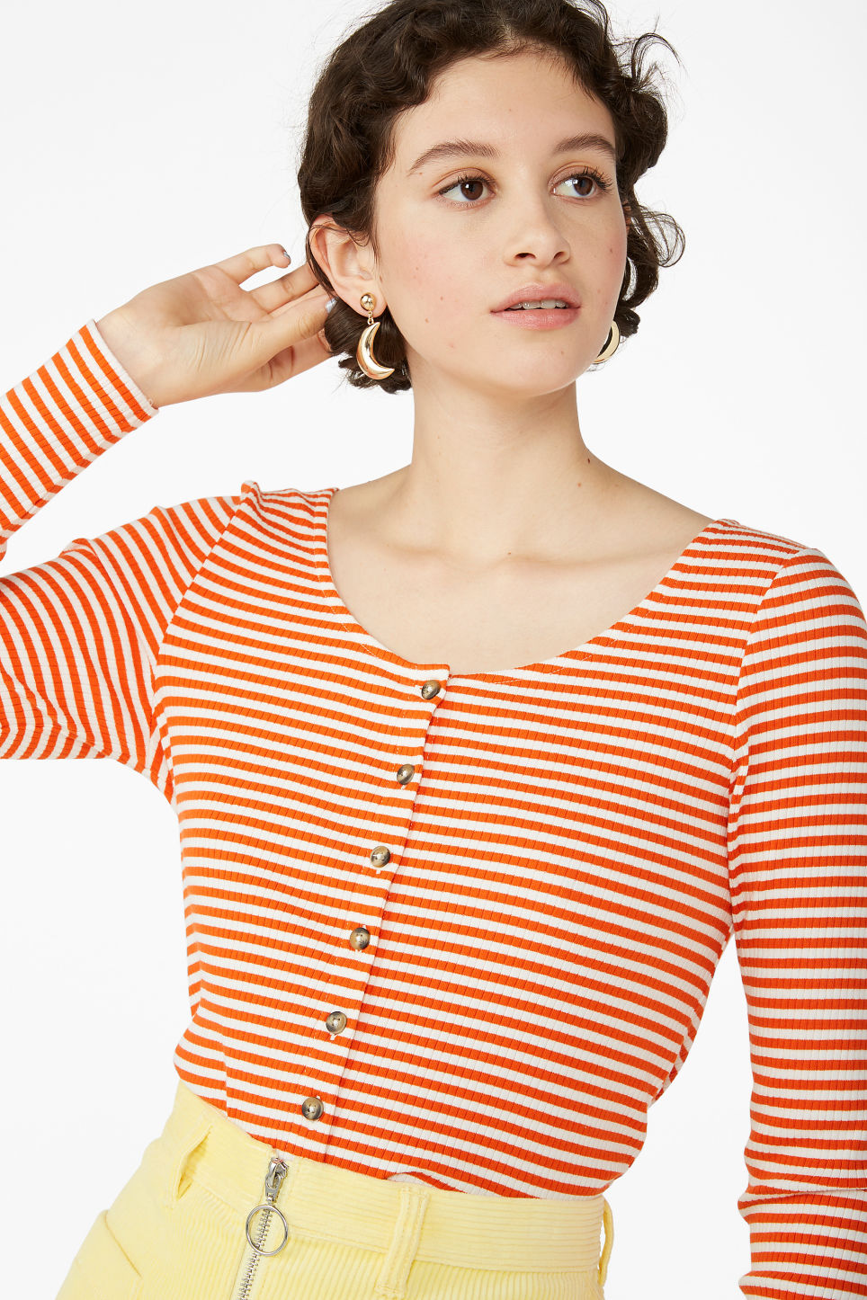 Model front image of Monki buttoned long-sleeved top in orange