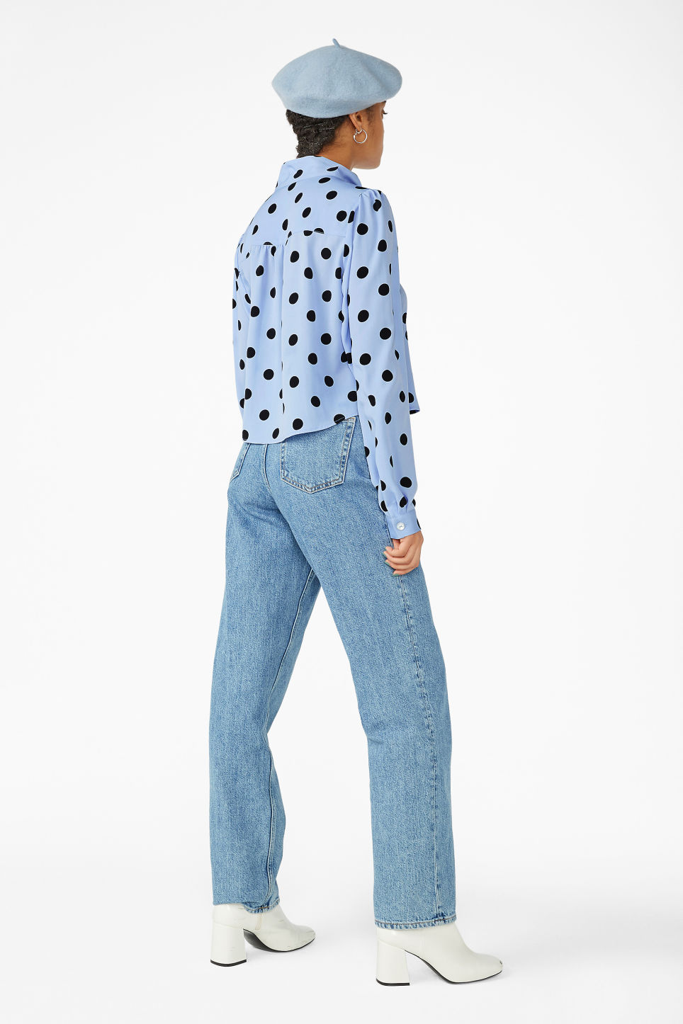 Model back image of Monki tie neck blouse in blue