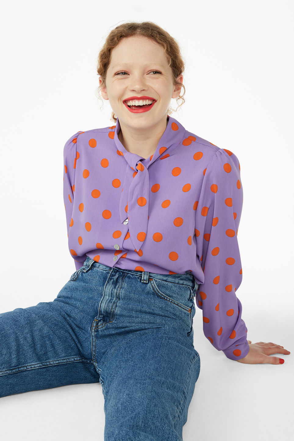 Model front image of Monki tie neck blouse in purple