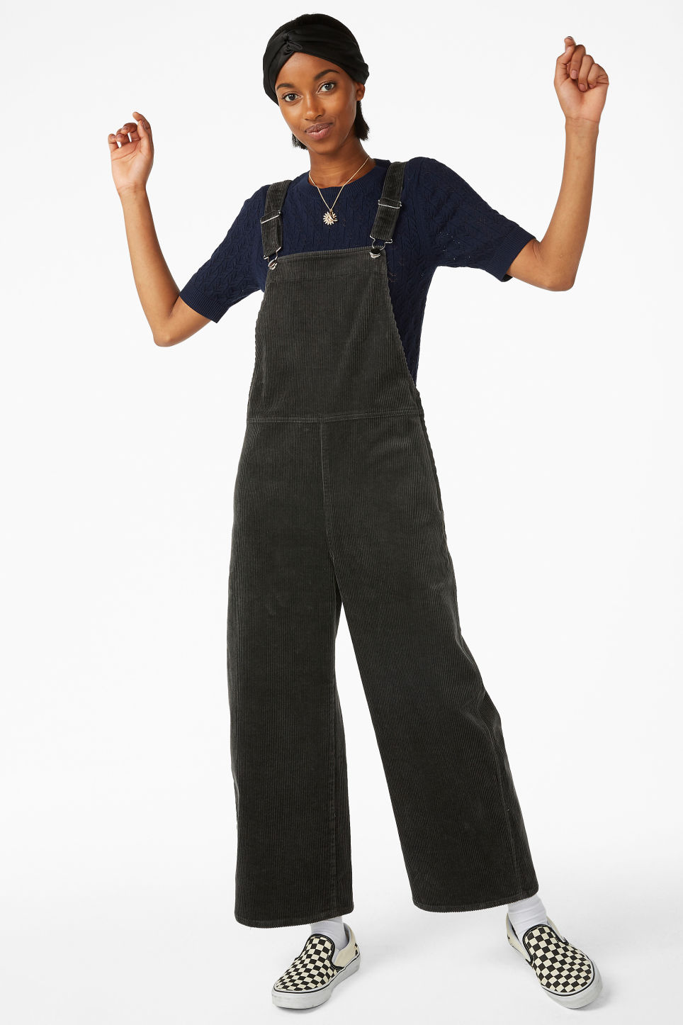 Model front image of Monki corduroy dungarees in grey