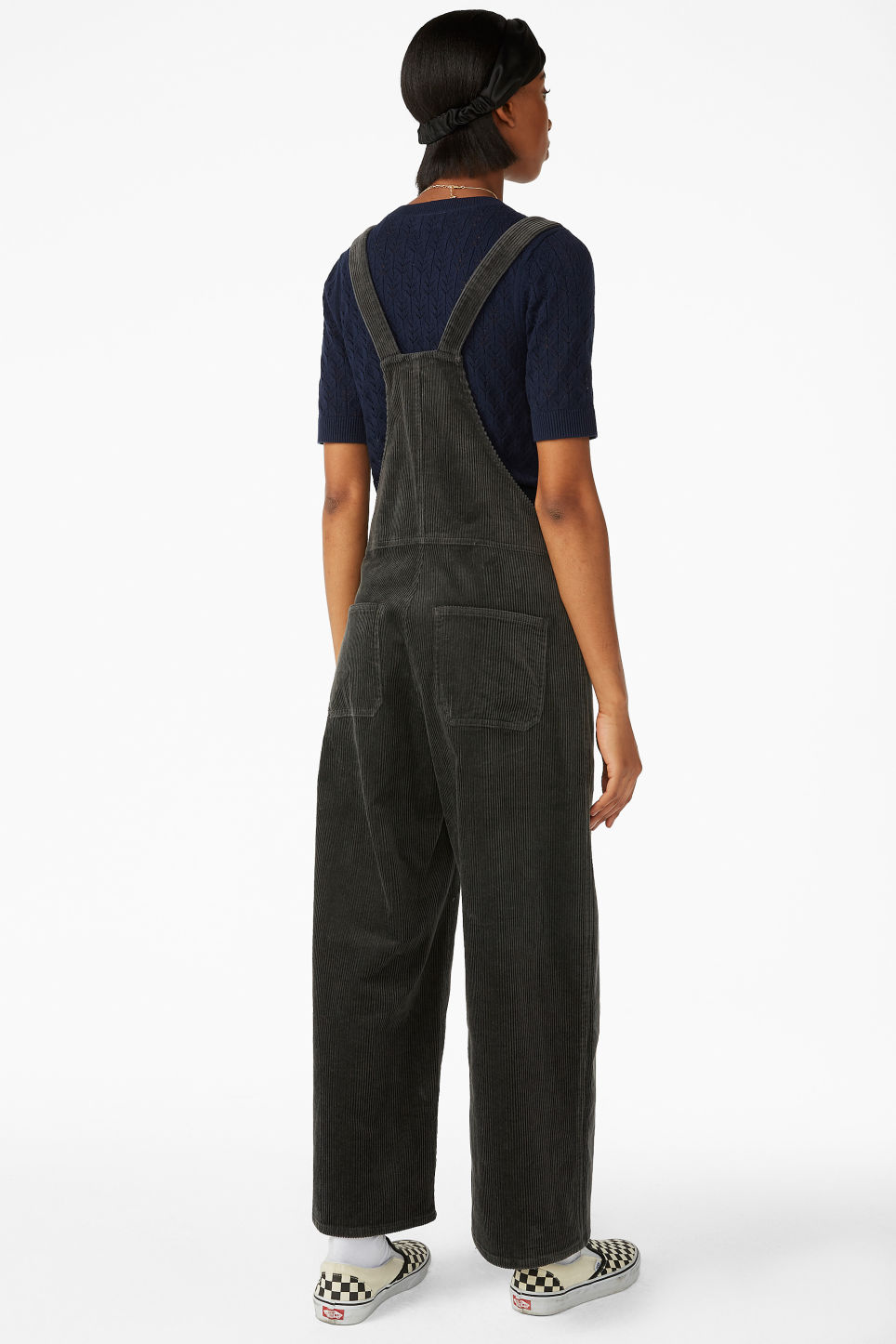 Model back image of Monki corduroy dungarees in grey