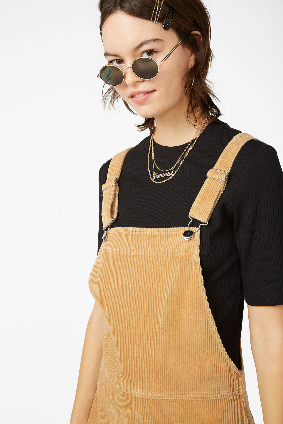 Model front image of Monki corduroy dungarees in beige
