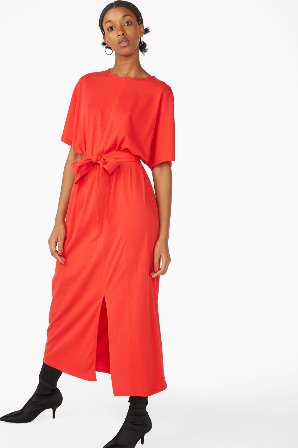 Model front image of Monki belted t-shirt dress in red