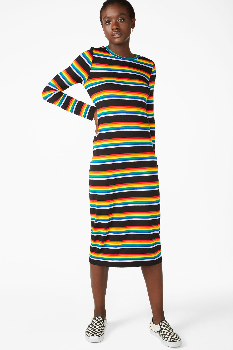 Model front image of Monki stretchy rainbow dress in black