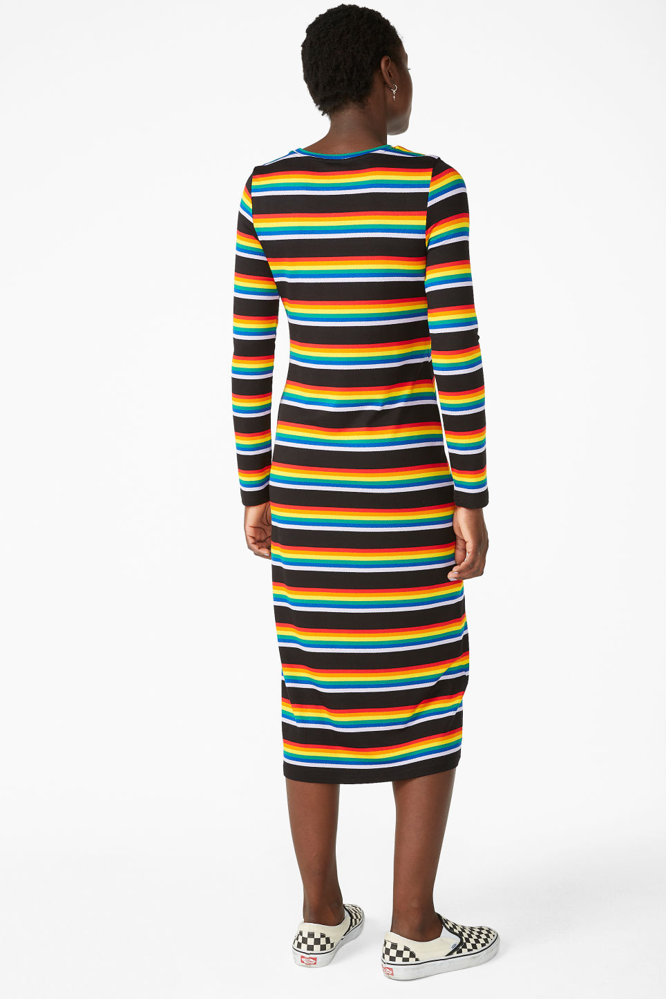 Model back image of Monki stretchy rainbow dress in black