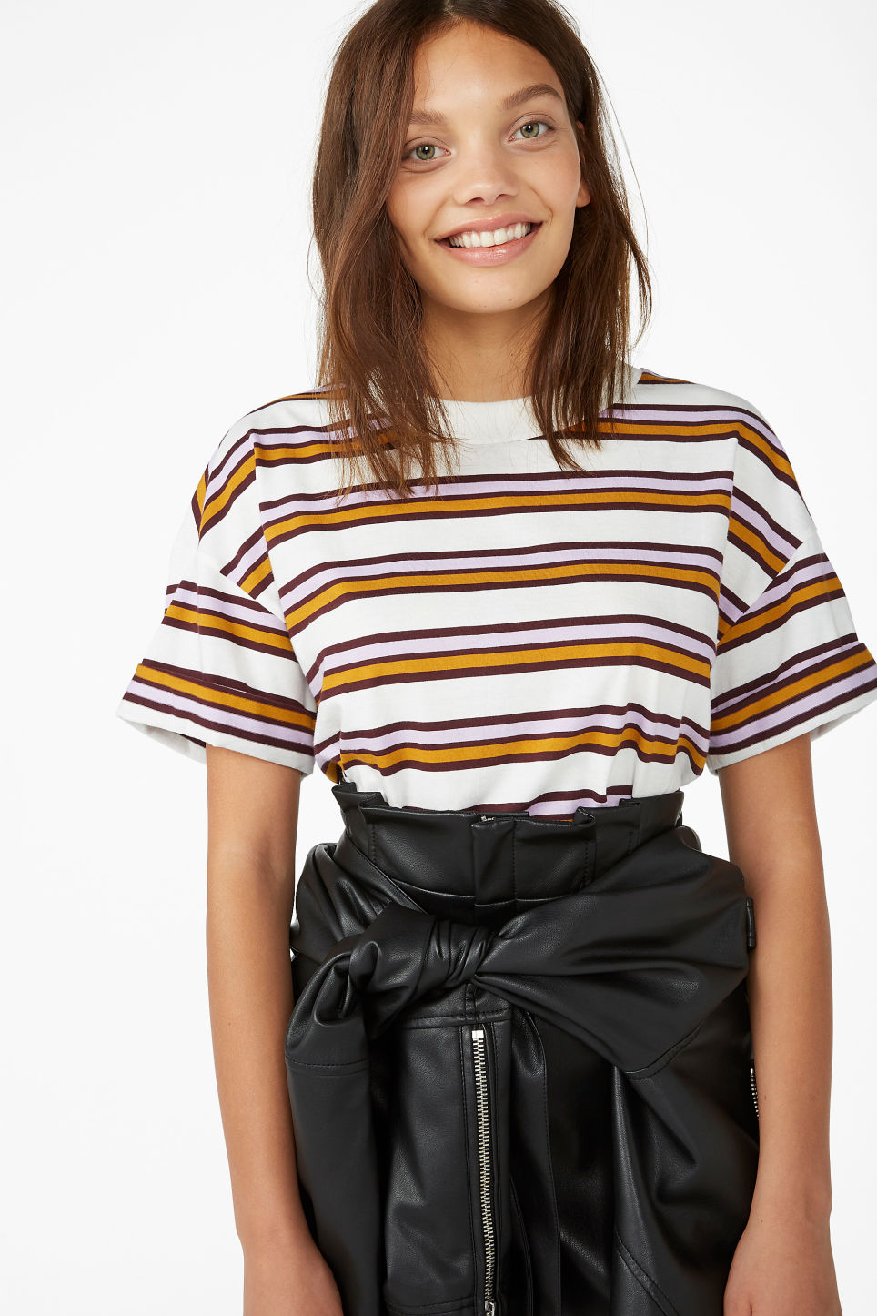 Model front image of Monki rolled sleeve t-shirt in white