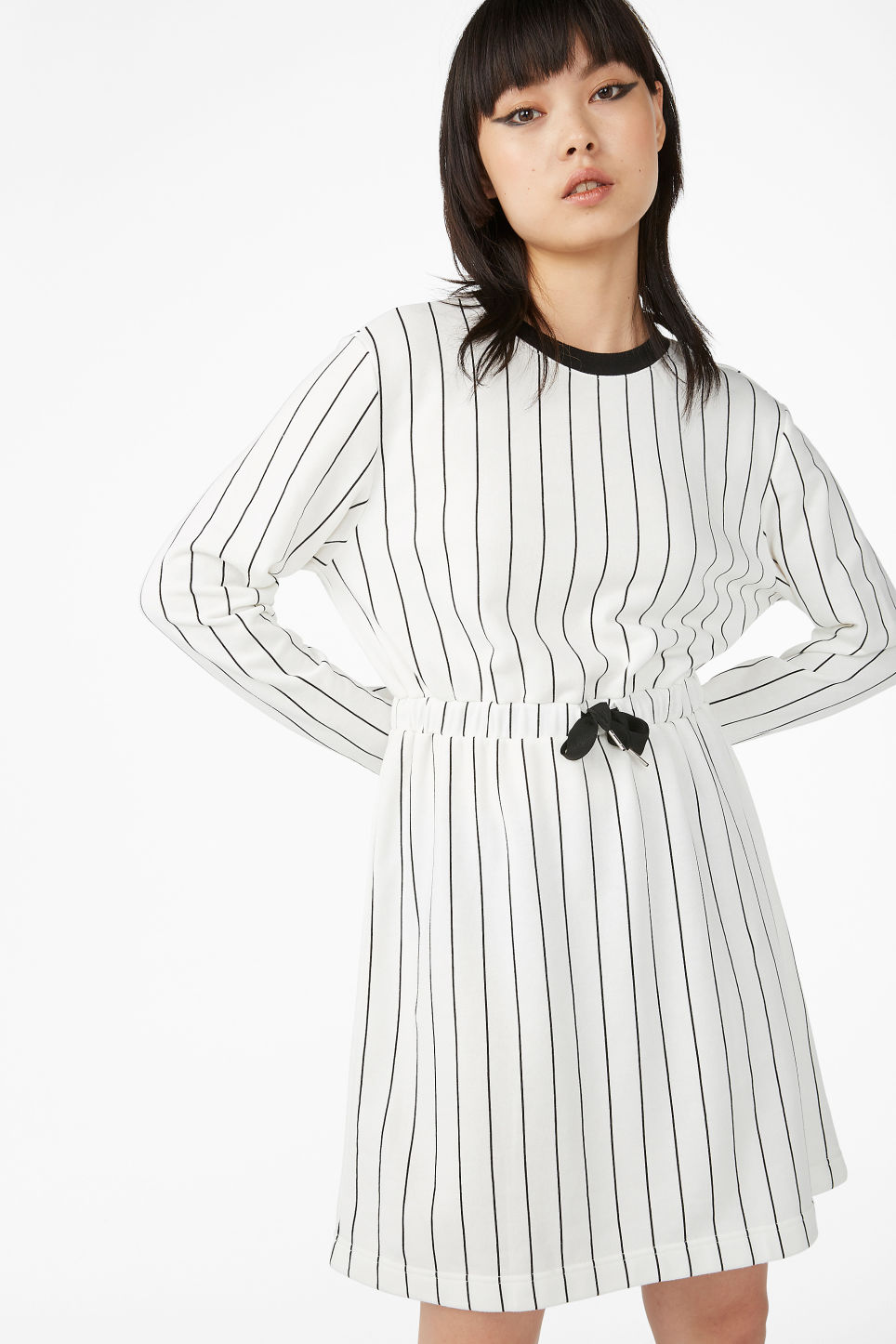 c3b12a8df38 Drawstring dress - Black and white - Dresses - Monki