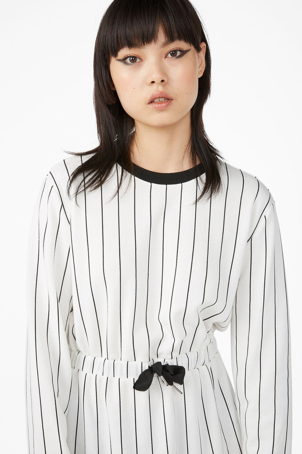 Model front image of Monki drawstring dress in white