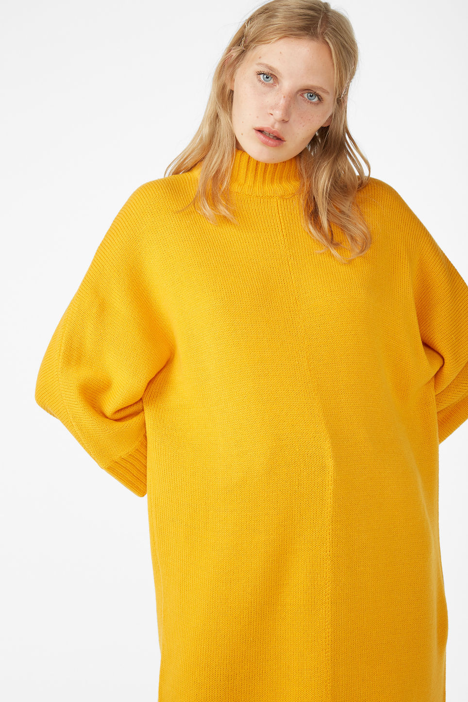 Model front image of Monki turtleneck knit dress in yellow