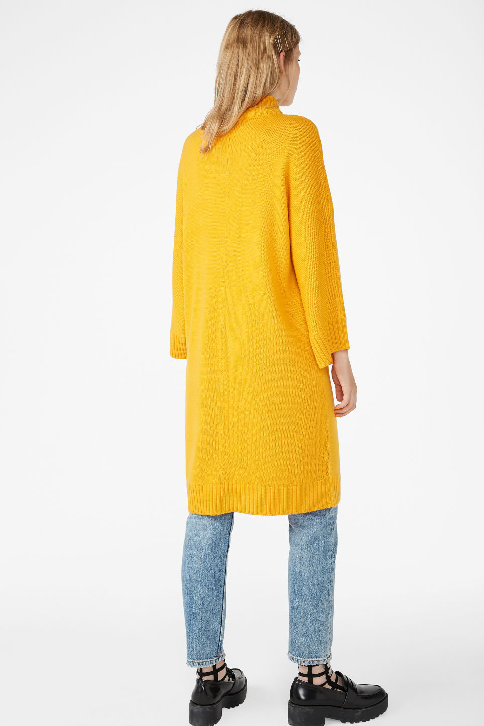 Model back image of Monki turtleneck knit dress in yellow