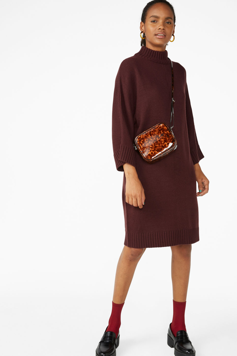 Model front image of Monki turtleneck knit dress in red