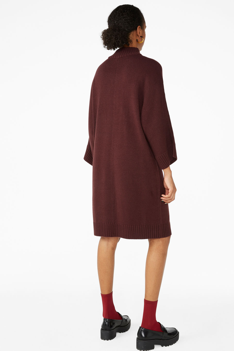 Model back image of Monki turtleneck knit dress in red