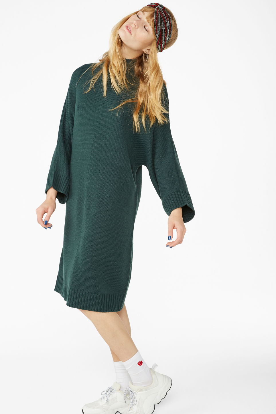 Model front image of Monki turtleneck knit dress in green