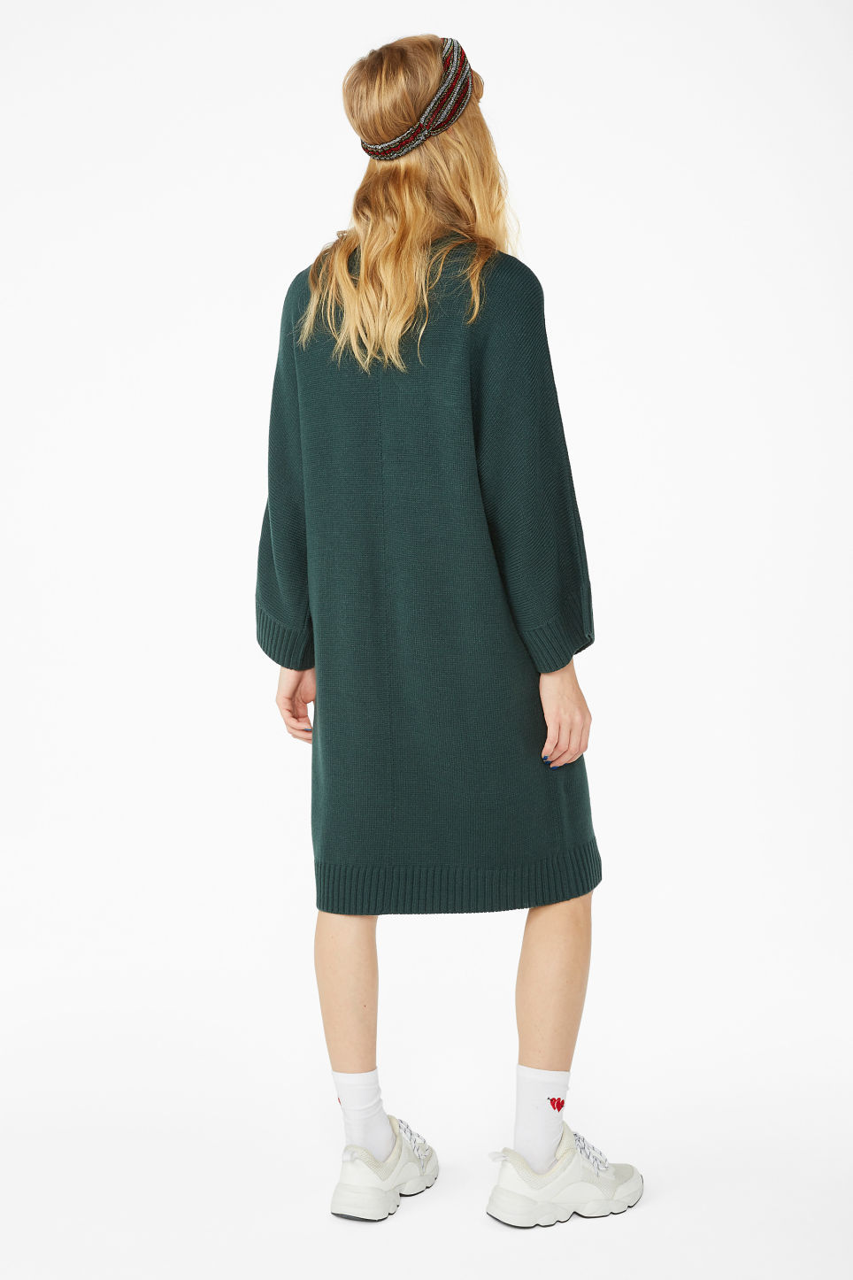Model back image of Monki turtleneck knit dress in green