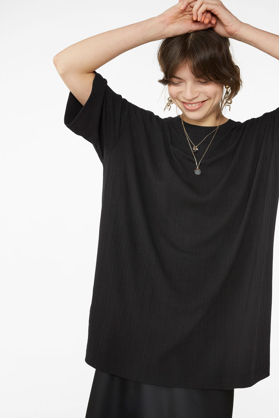 Model front image of Monki oversized side slit top in black