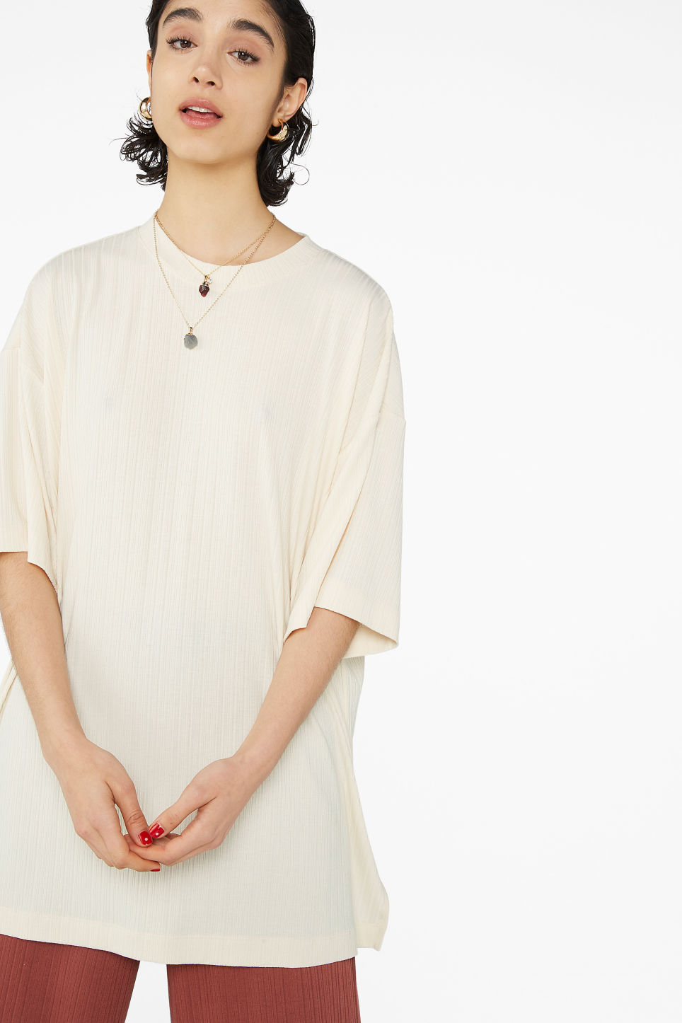 Model front image of Monki oversized side slit top in beige