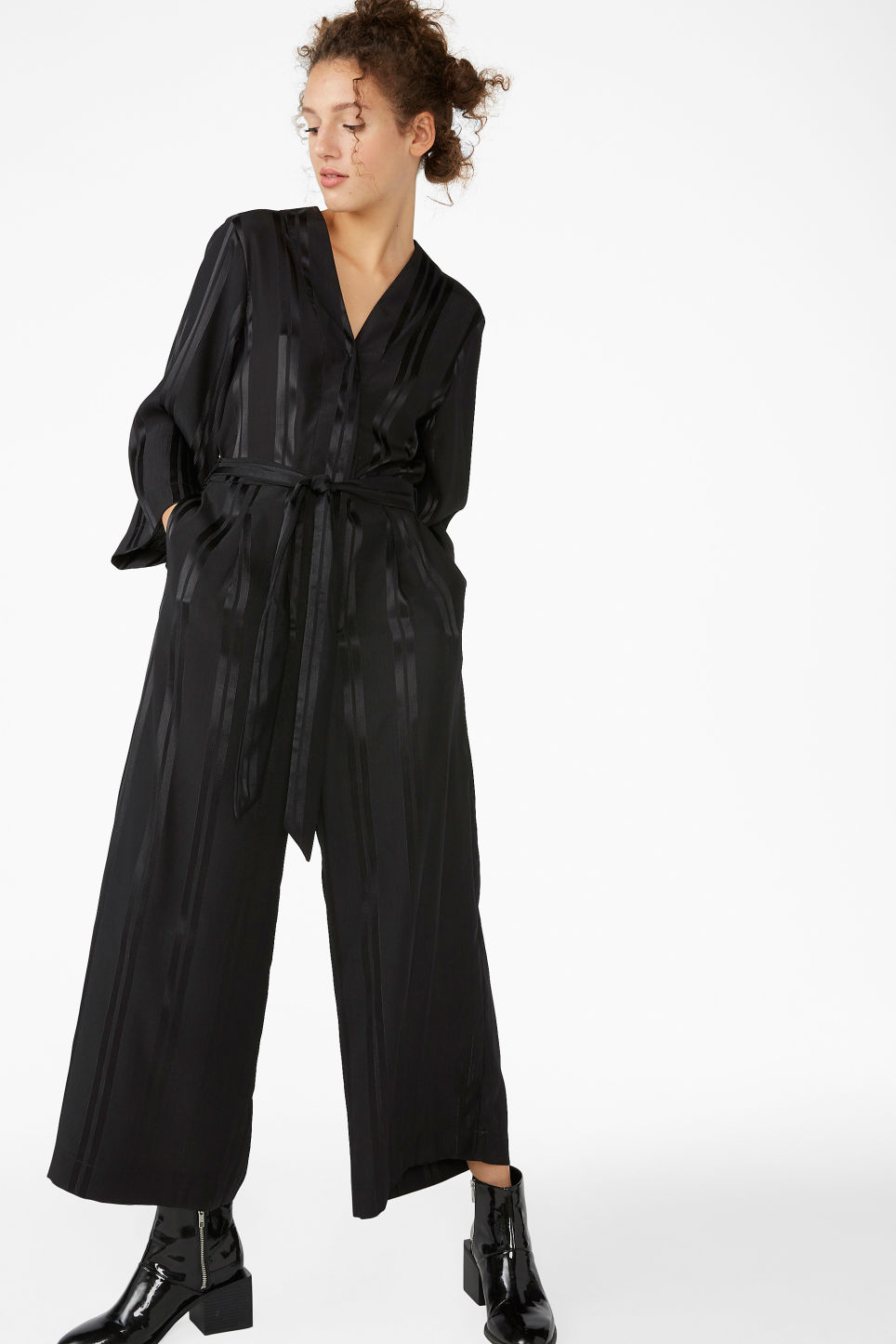 Model front image of Monki dressy jumpsuit in black