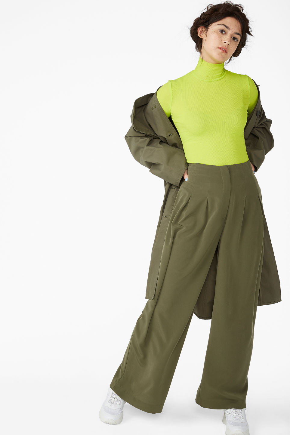 Model front image of Monki wide-legged trousers in green