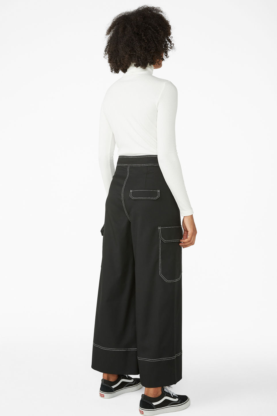 Model back image of Monki utilitarian trousers in black