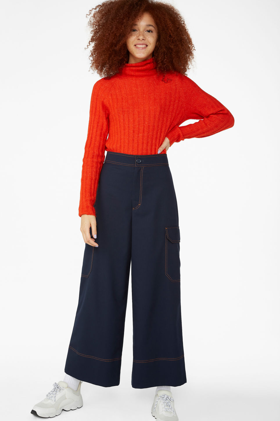 Model front image of Monki utilitarian trousers in blue
