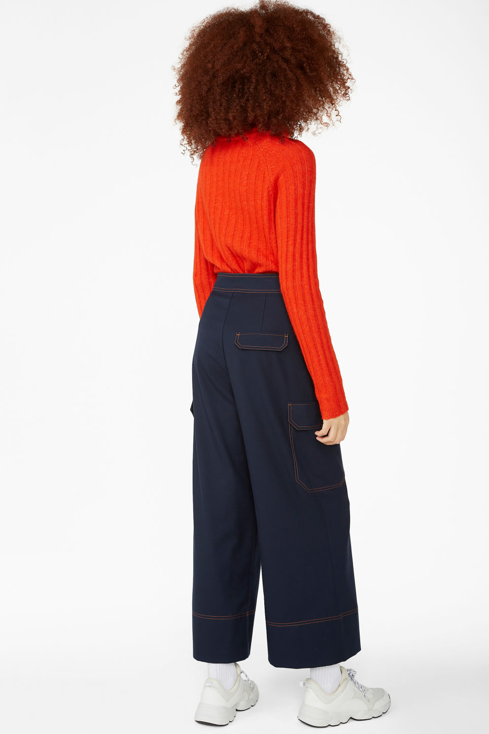 Model back image of Monki utilitarian trousers in blue