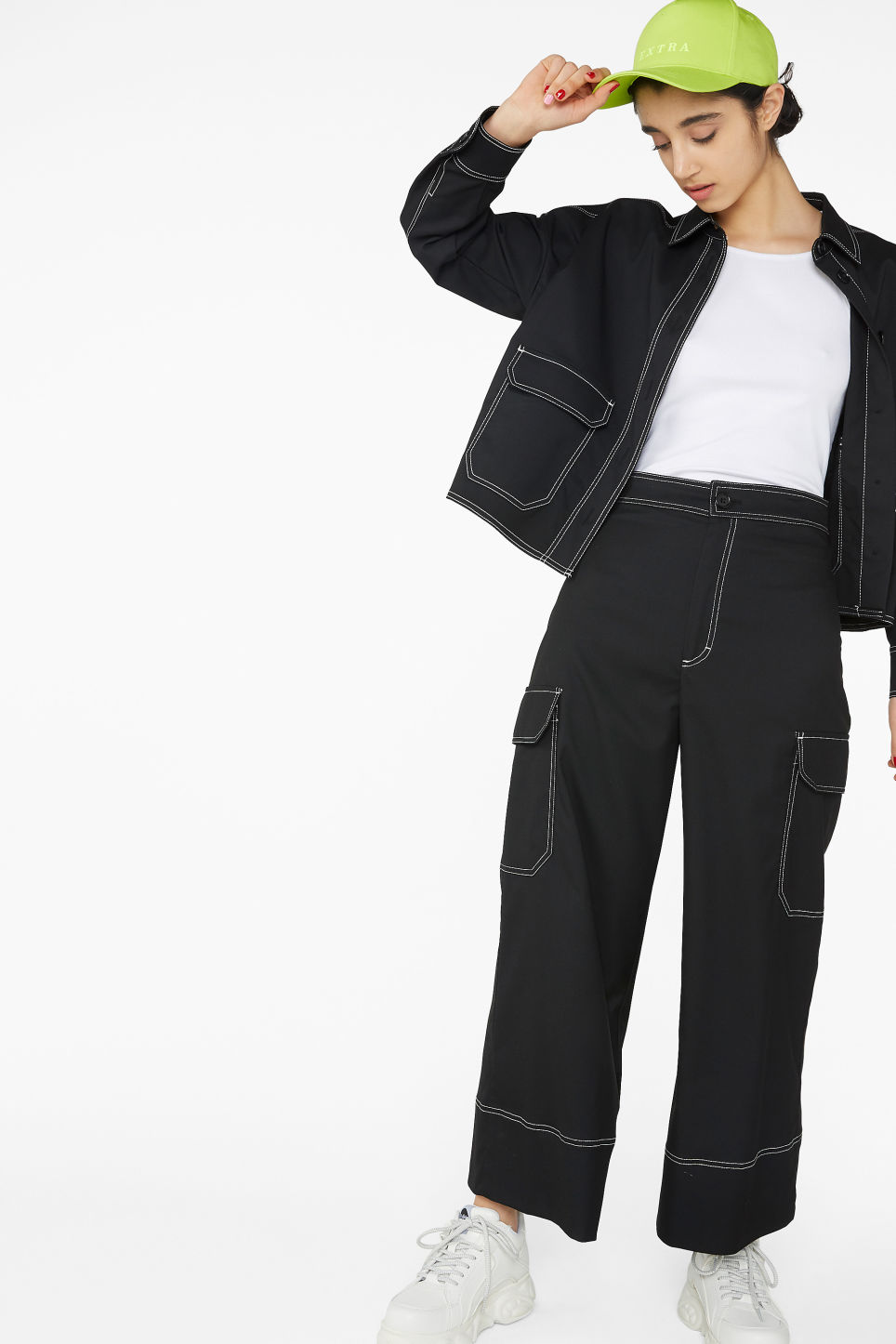 Model front image of Monki utilitarian trousers in black
